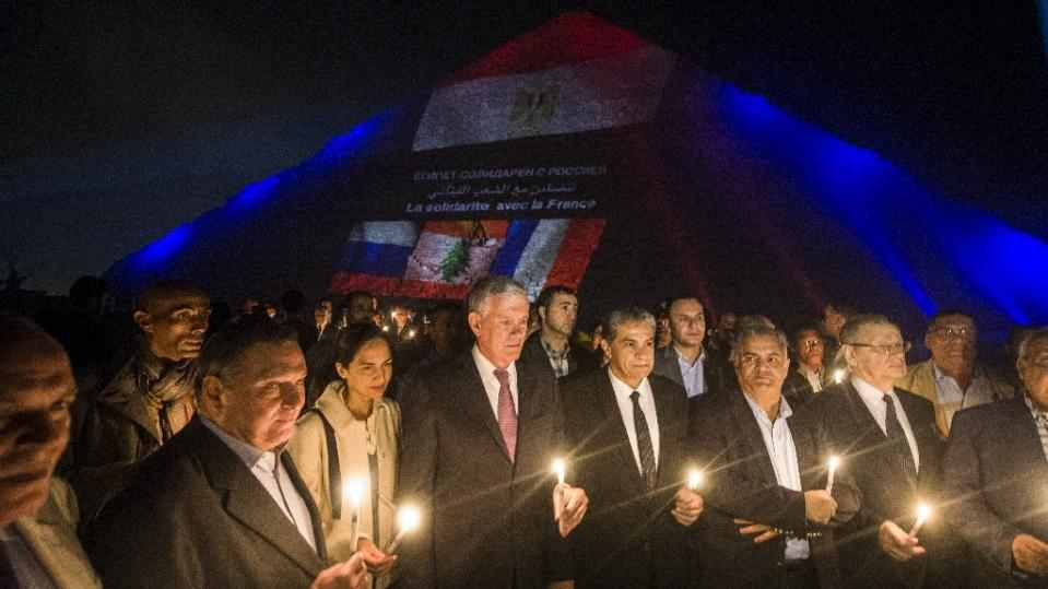 Egypt lights the Pyramids in unbiased solidarity with Lebanon, France and Russia